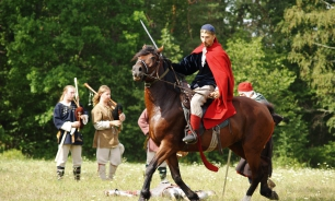 Acting knight fights in Southern Latvia.