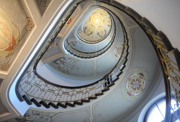Stairs in the building that houses the Riga Art Nouveau Museum