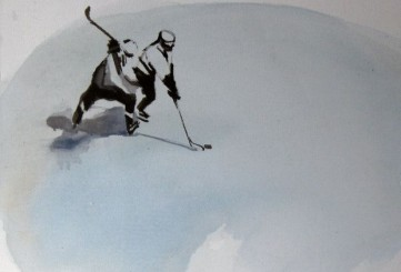 The exhibition celebrates ice hockey, which is arguably the most popular sport in Latvia.