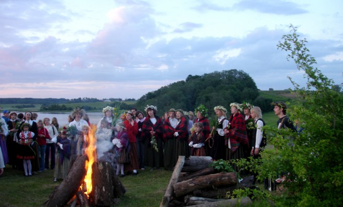 Bonfire in the middle of midsummer night celebration in Latvia.