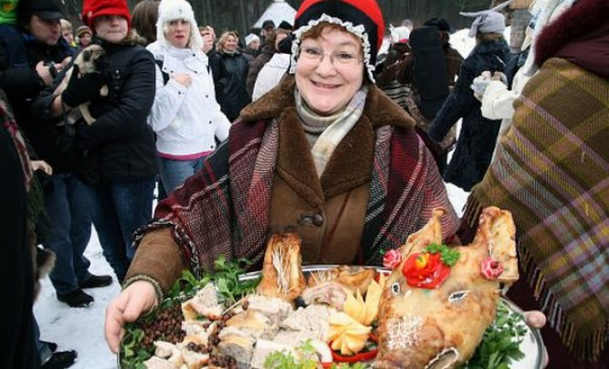 Christmas day meal in Latvian Ethnographic museum.