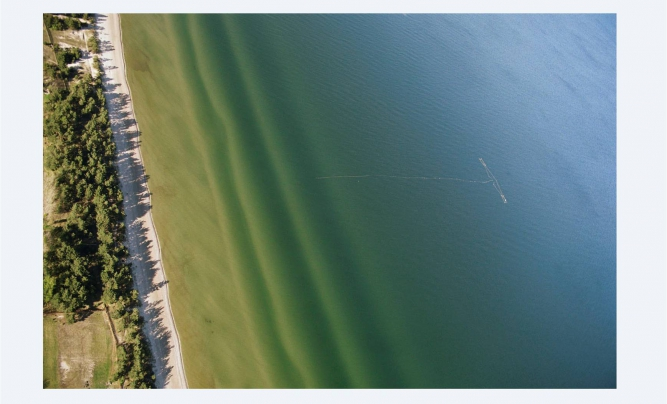 Baltic sea at Irbe river from sky.