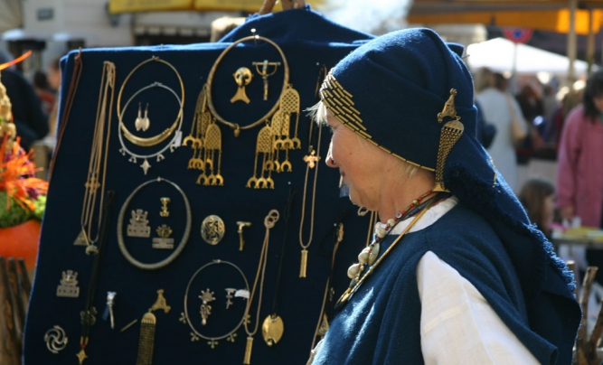 Latvian traditional brooches and trinkets.