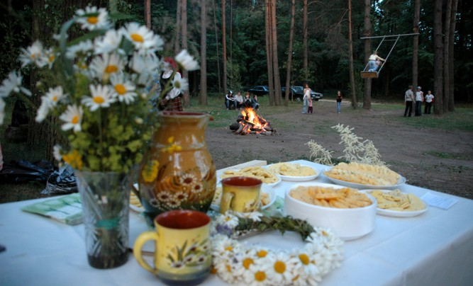 Latvian Midsummer night meal - cheese with cumin.