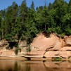 Sandstone bluff in the coast of Gauja river.